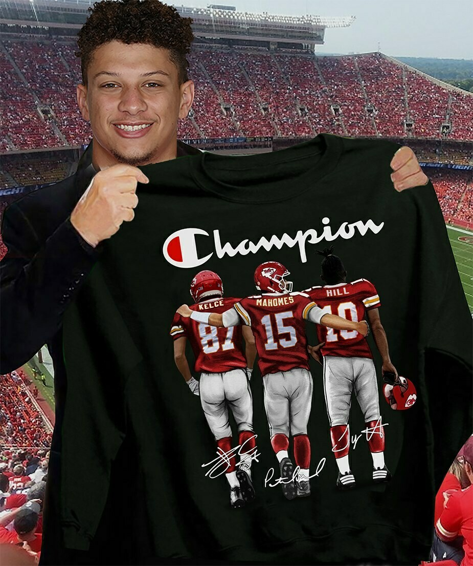 Kansas City Chiefs Champion Kelce mahomes Hill signatures T-shirt, Hoodie, Sweatshirt, Long Sleeve, Ladies T-shirt, Young Tee