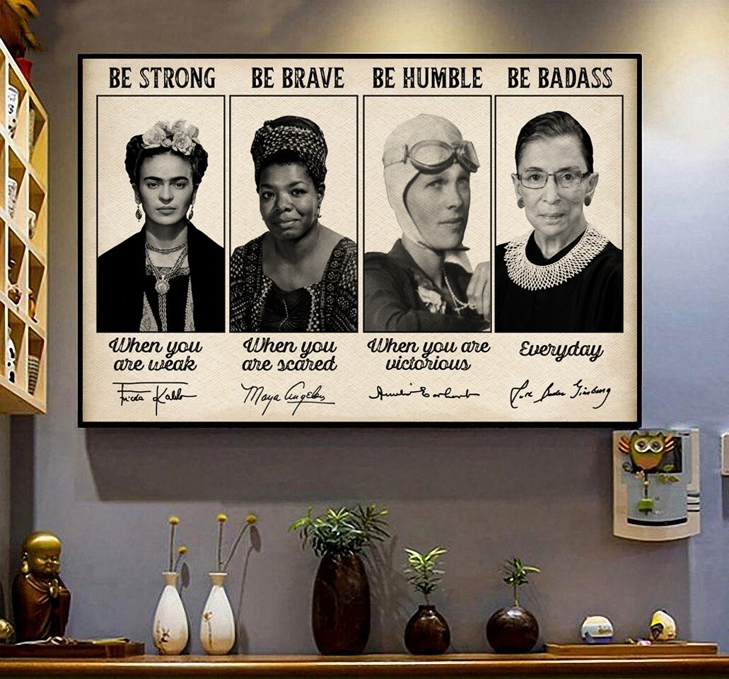 Feminist Be Strong Be Brave Be Humble Be Badass Poster, RBG Frida Kahlo, Retro Vintage Decor, Office decor, Wall Art