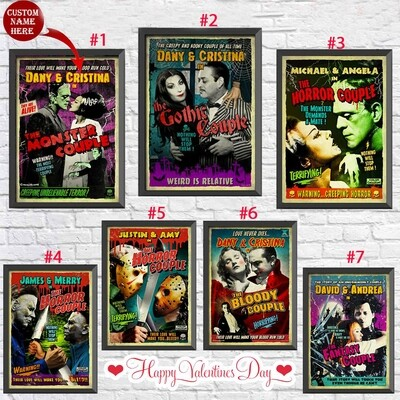 Personalized Horror Movie 2 | Valentine day Poster, Frankenstein Poster, Retro Vintage Decor, Office decor, Wall Art