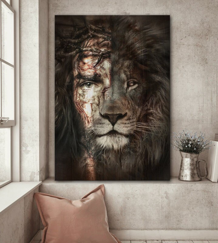 Jesus and Lion The Perfect Combination Poster, Lion Poster, Jesus All Art, Home Decor