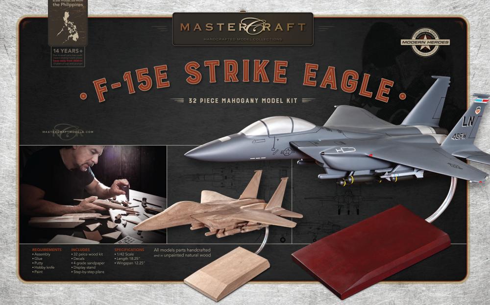 F-15 FIGHTER JET RTA SOLID MAHOGANY WOOD MODEL KIT SCALE: 1/42