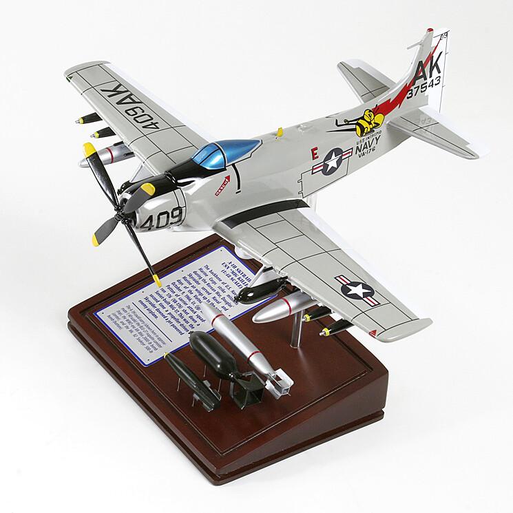 A-1H Skyraider Wood Model Plane