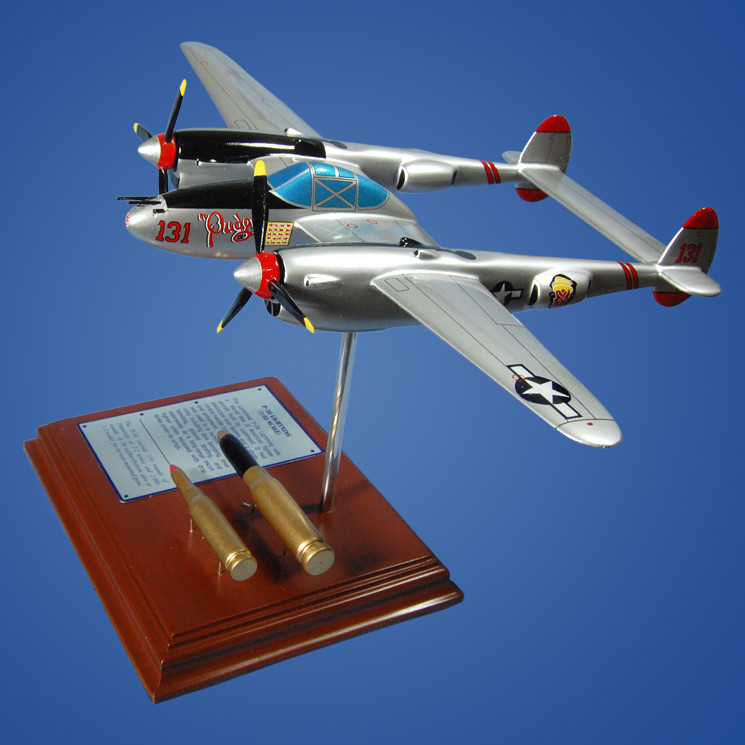 P-38 Lightning (Pudgy) 1/49 Wood Plane Model with Scale Ammunition