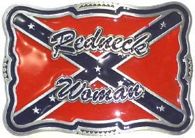 Redneck Woman W/ Battle Flag Belt Buckle