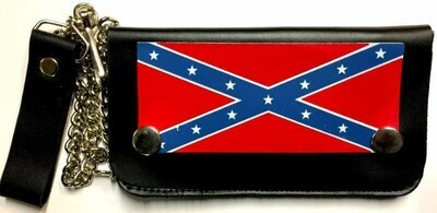 Rebel Leather Billfold w/ Chain - Long Non-Studded