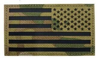 IR Reflective Fabric US Flag Reverse Multicam Velcro Patch