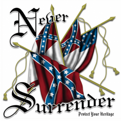 Never Surrender Square Sticker by Dixie Outfitters®