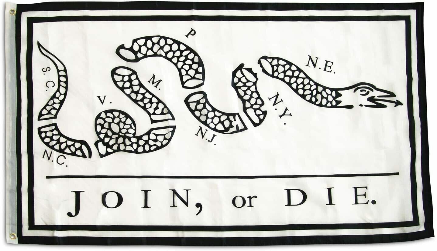 Join Or Die Flag (White)