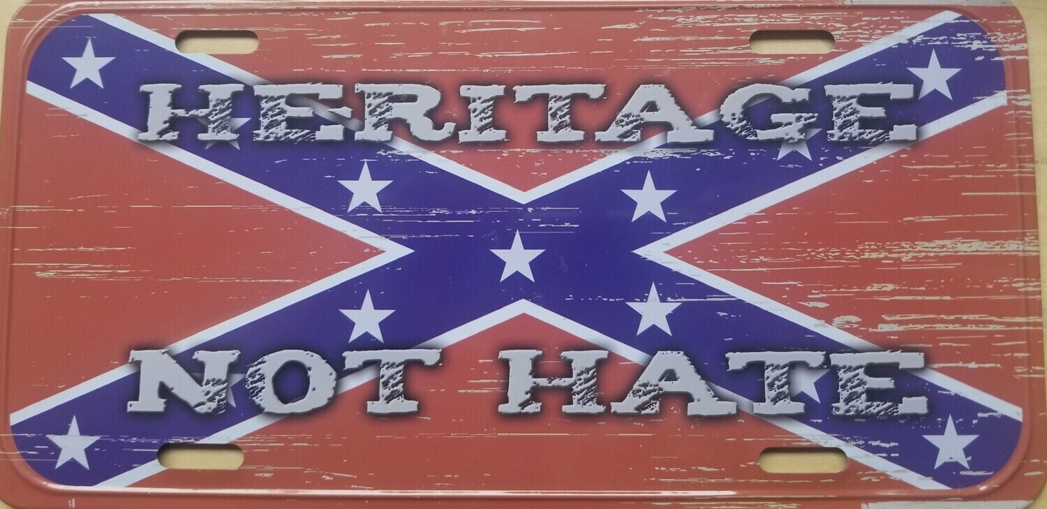 Heritage Not Hate On Battle Flag License Plate