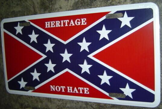 Heritage Not Hate On Battle Flag License Plate v2