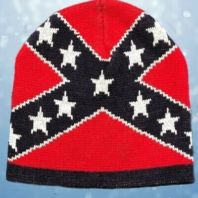 Confederate Flag Beanie Cap - One Size Fits Most