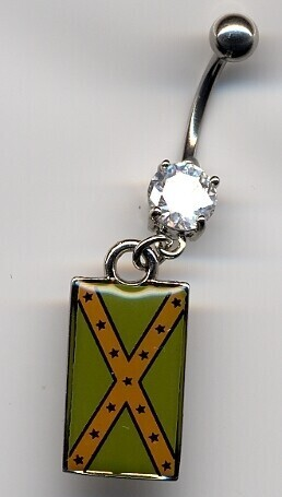 Confederate Battle Flag Subdued Belly Ring