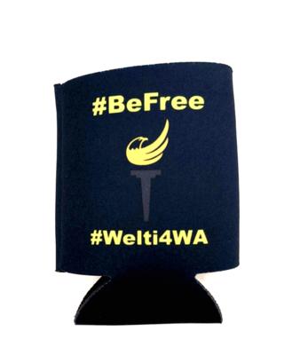 Be Free, Vote Welti Koozie