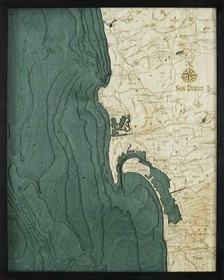 San Diego Wooden Carved Map