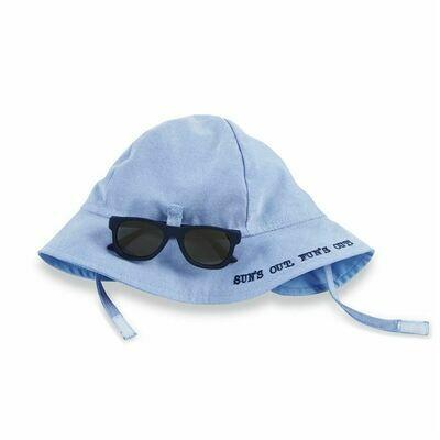 Blue Sun Hat And Glasses Set Infant