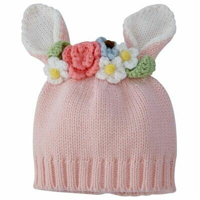 Bunny Flower Crown Hat - Pink
