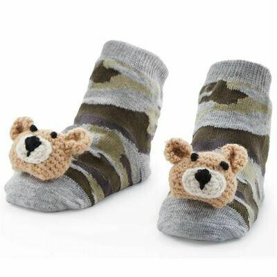 Camo Bear Rattle Toe Socks