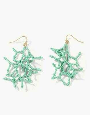 Beaded Coral Earrings Seafoam