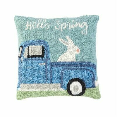 Hello Spring Hooked Wool Pillow