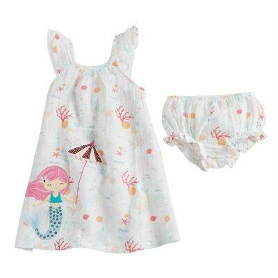 Mermaid Muslin Applique Dress 3T