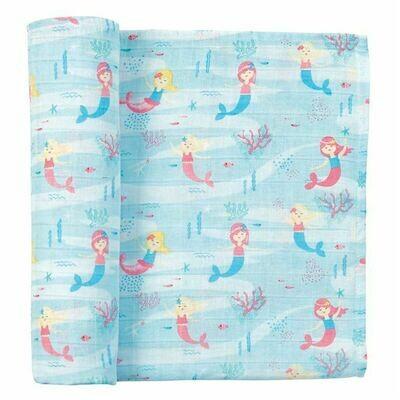 Mermaid Muslin Swaddle Blanket