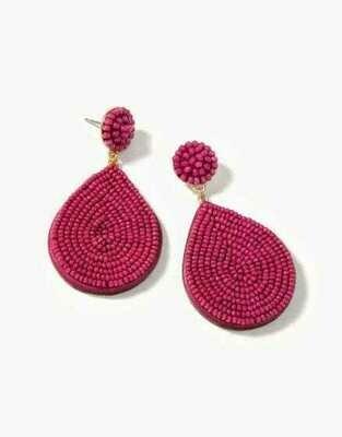 Beaded Petal Earrings Merlot