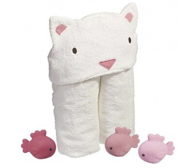 Cat Hooded Towel With Bath Toys Set