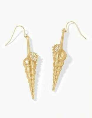 Corkscrew Shell Earrings White Opal