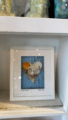 Shell Hearts-Coronado 11X9 Blue Wood looking background