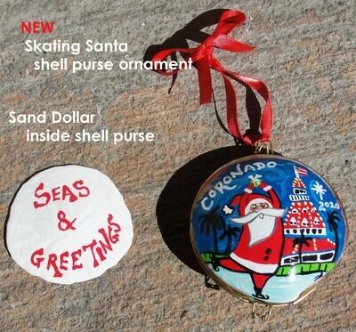 Skating Santa Shell Purse Ornament with Sanddollar Inside