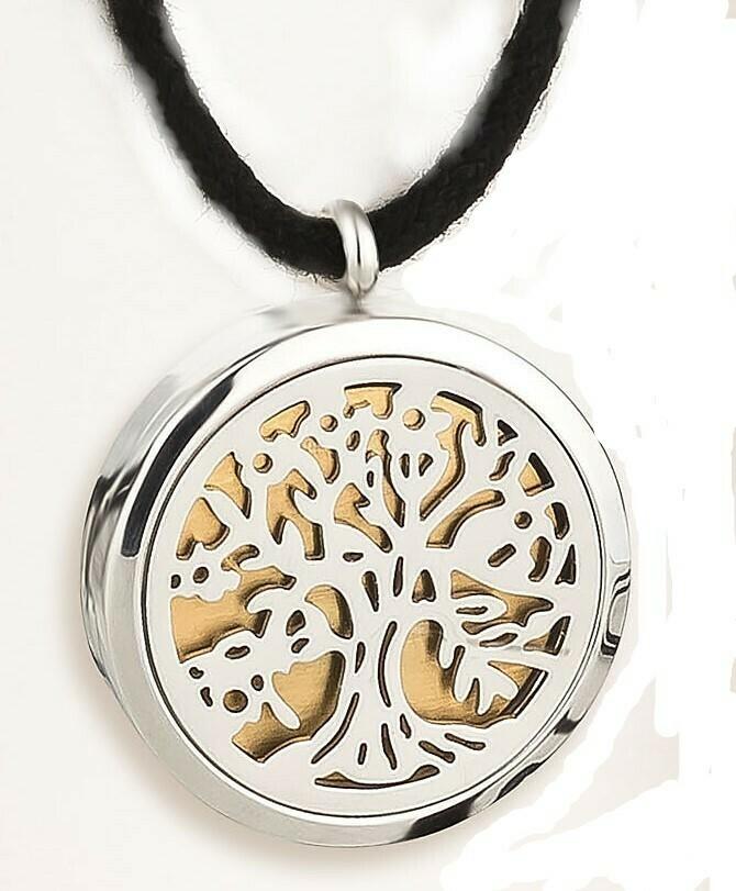 Aroma-Medaillon Baum des Lebens, rückseitig mit der Blume des Lebens graviert. Durchmesser in 25 oder 30 mm. Inkl. 24 Karat vergoldete Dezenter Platte aus Edelstahl.
