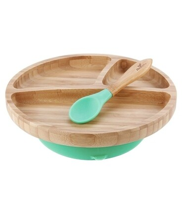 Bamboo and Silicone Toddler Suction Plate + Spoon