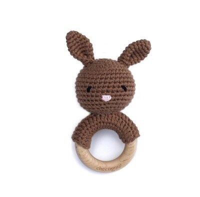 Bunny Rattle Teether - Mocha