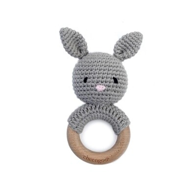 Bunny Rattle Teether- Grey