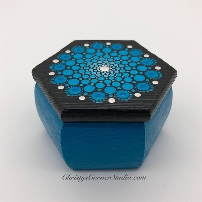 Hand Painted Turquoise Wooden Jewelry Storage Box