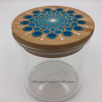 Hand Painted Turquoise Glass Jewelry Trinket Storage Jar