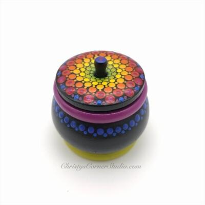 Hand Painted, Rainbow mandala, Wooden, Jewelry Storage Box