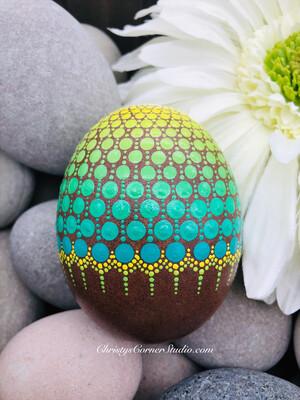 Yellow & Green Mandala Easter Egg Rock