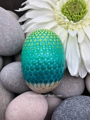 Yellow & Green Metallic Mandala Easter Egg Rock