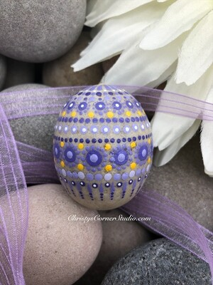 Hand Painted Purple Easter Egg Rock