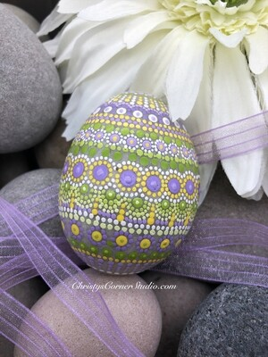Hand Painted Purple and Green Easter Egg Rock