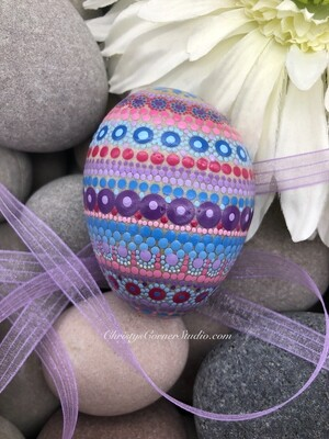 Hand Painted Purple and Pink Easter Egg Rock