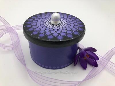 Hand Painted, Purple, Wooden, Jewelry Storage Box