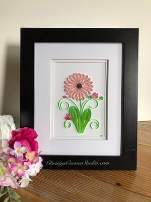 Quilled Pink Flower Framed Artwork