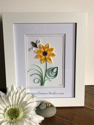 Quilled Sunflower Framed Artwork