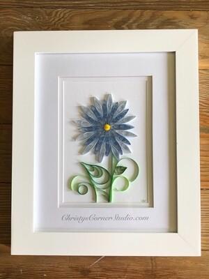 Quilled Blue Flower Framed Artwork