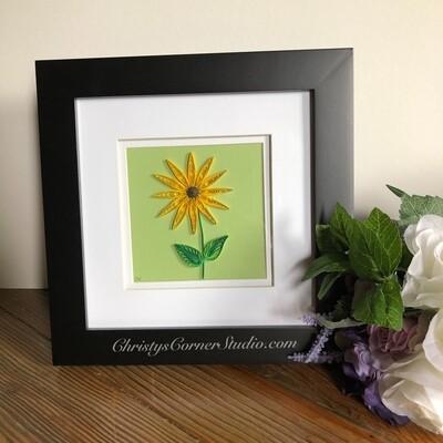 Quilled Black-eyed Susan, Yellow Flower Framed Artwork