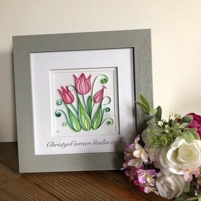 Quilled Pink Tulips Framed Artwork