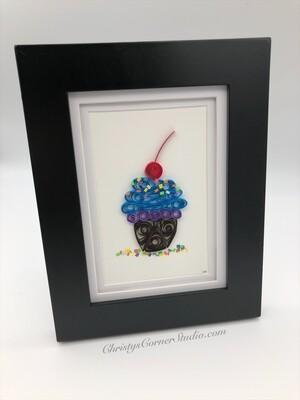 Quilled Cupcake Framed Artwork