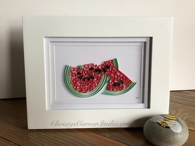 Quilled Watermelon Framed Artwork